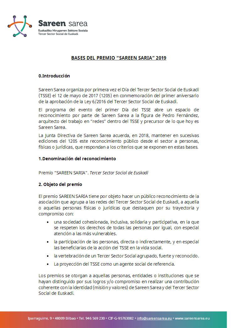 Bases Premio Sareen Saria 2019