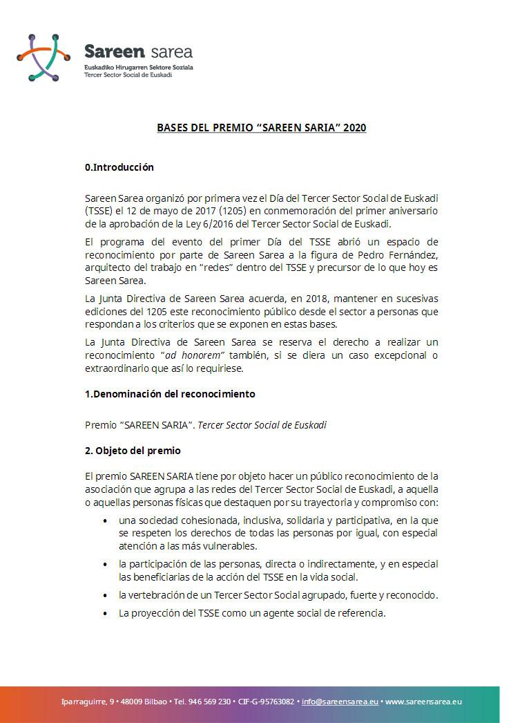 Bases Premio Sareen Sarea 2020