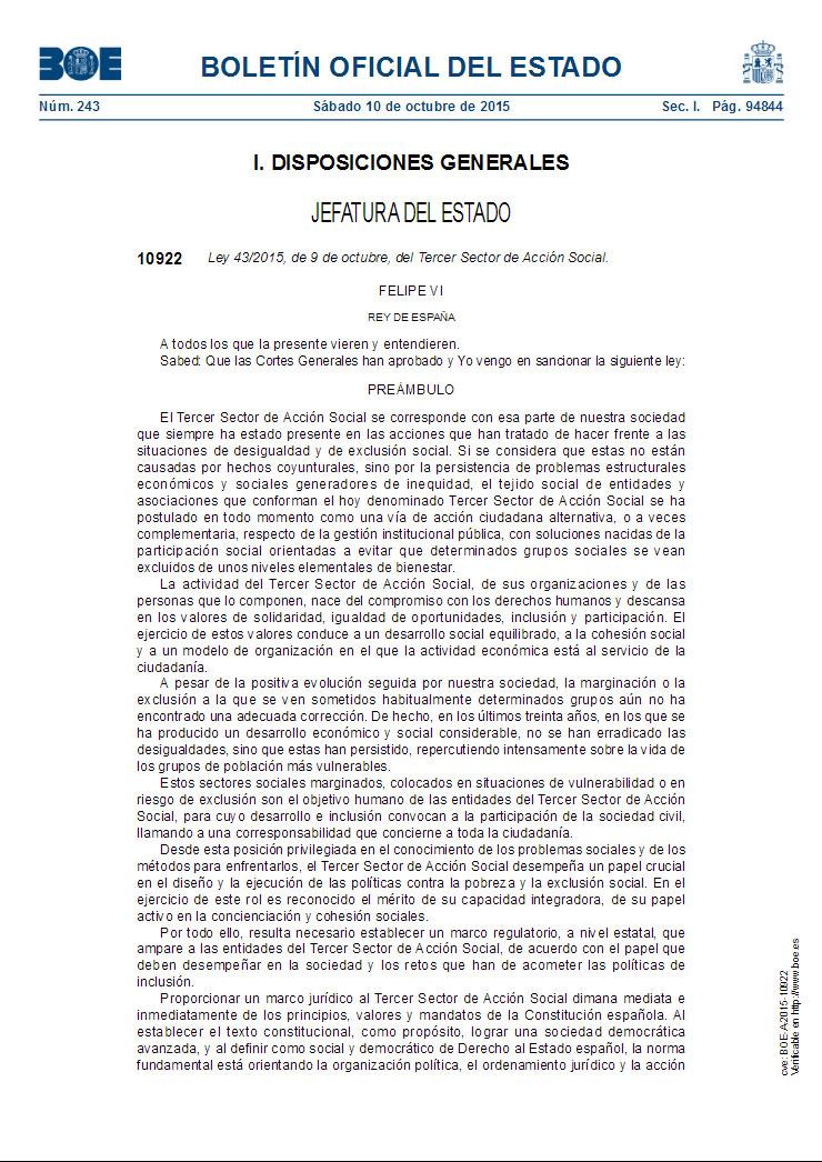 Ley 432015, de 9 de octubre, del Tercer Sector de Acción Social (Estado)