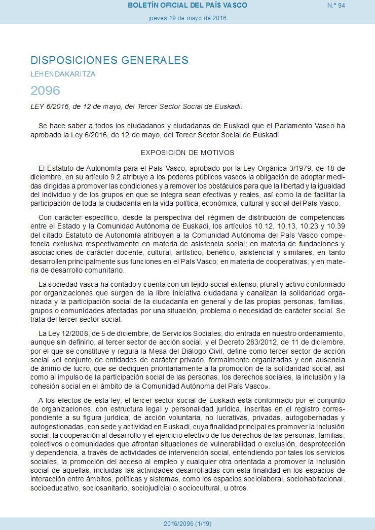 Ley 62016, de 12 de mayo, del Tercer Sector Social (Euskadi)