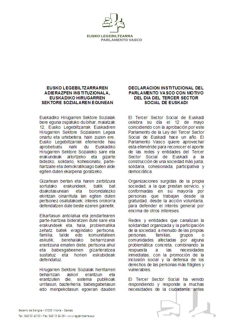 Declaración Insitucional Parlamento Vasco