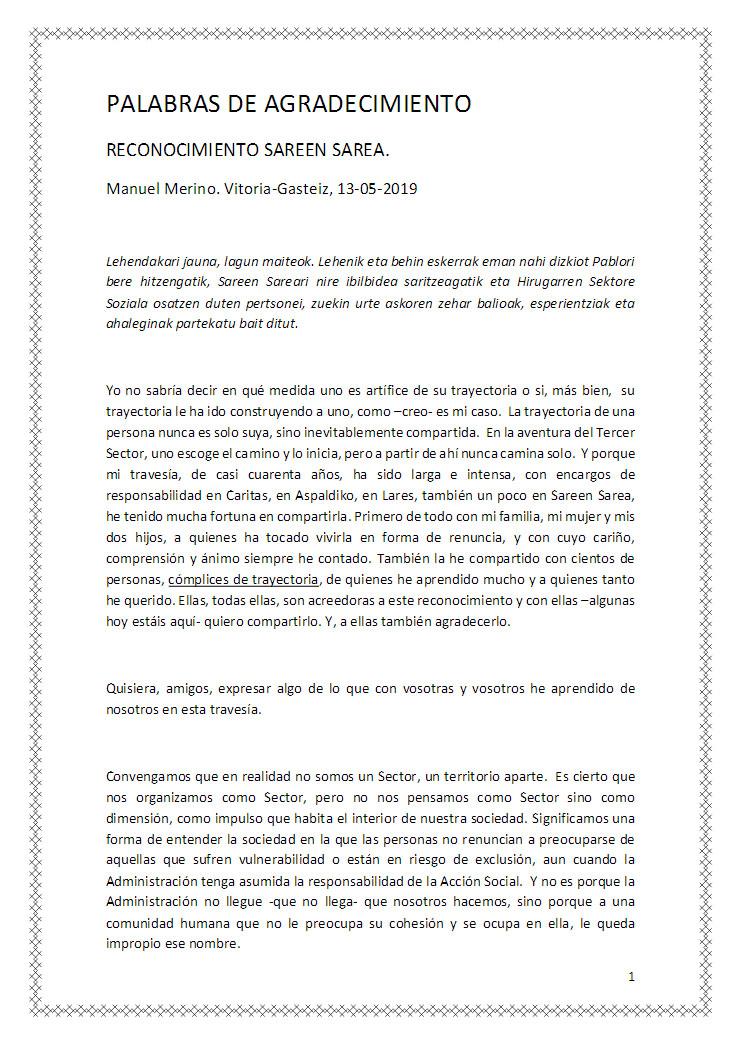 Palabras del Premiado Manuel Merino