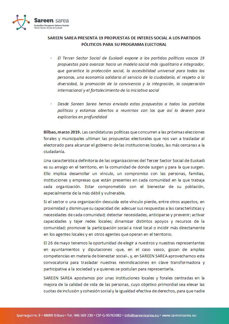 Marzo 2019. 19 propuestas para las elecciones de mayo de 2019
