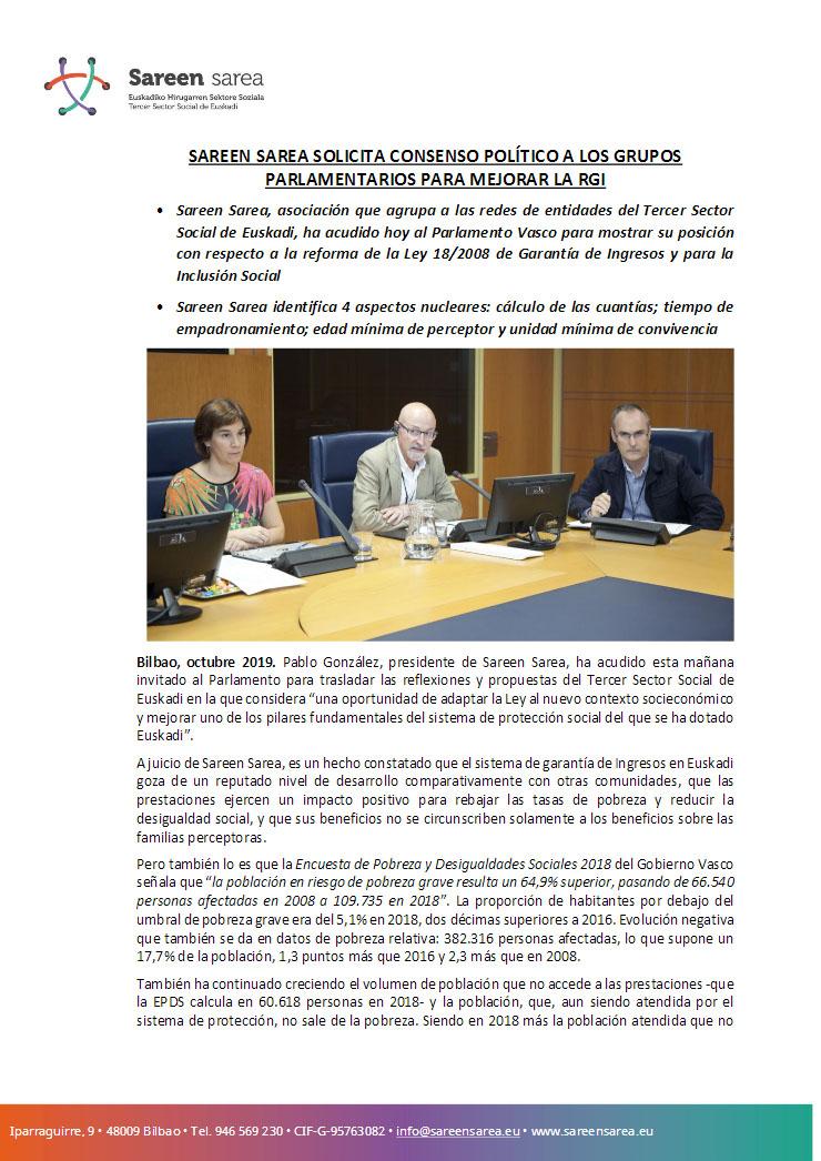 Octubre 2019. Sareen Sarea solicita consenso político a los grupos parlamentarios para mejorar la RGI