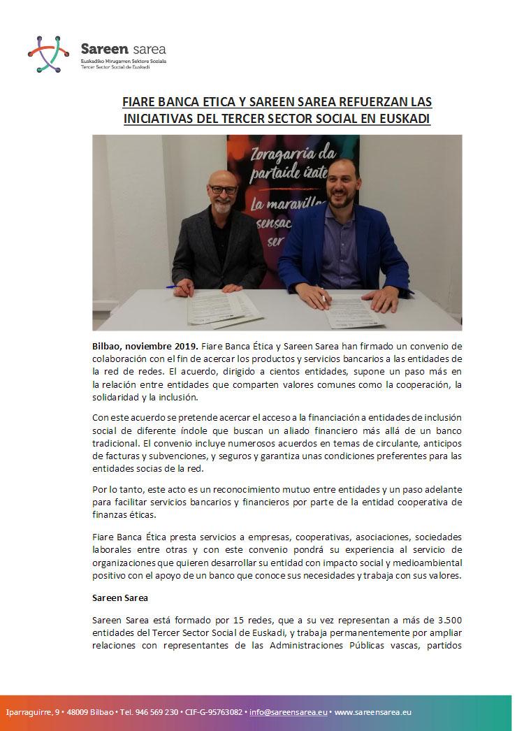 Noviembre 2019. Sareen Sarea y Fiare Banca Etica firman un acuerdo de colaboración