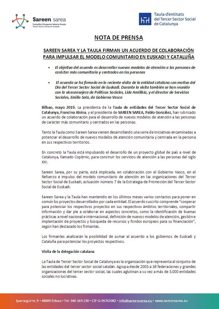 Mayo 2019. Acuerdo de Colaboración con la Taula d'Entitats de Catalunya