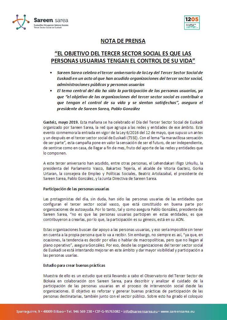 Mayo 2019. Día del Tercer Sector Social de Euskadi 2019