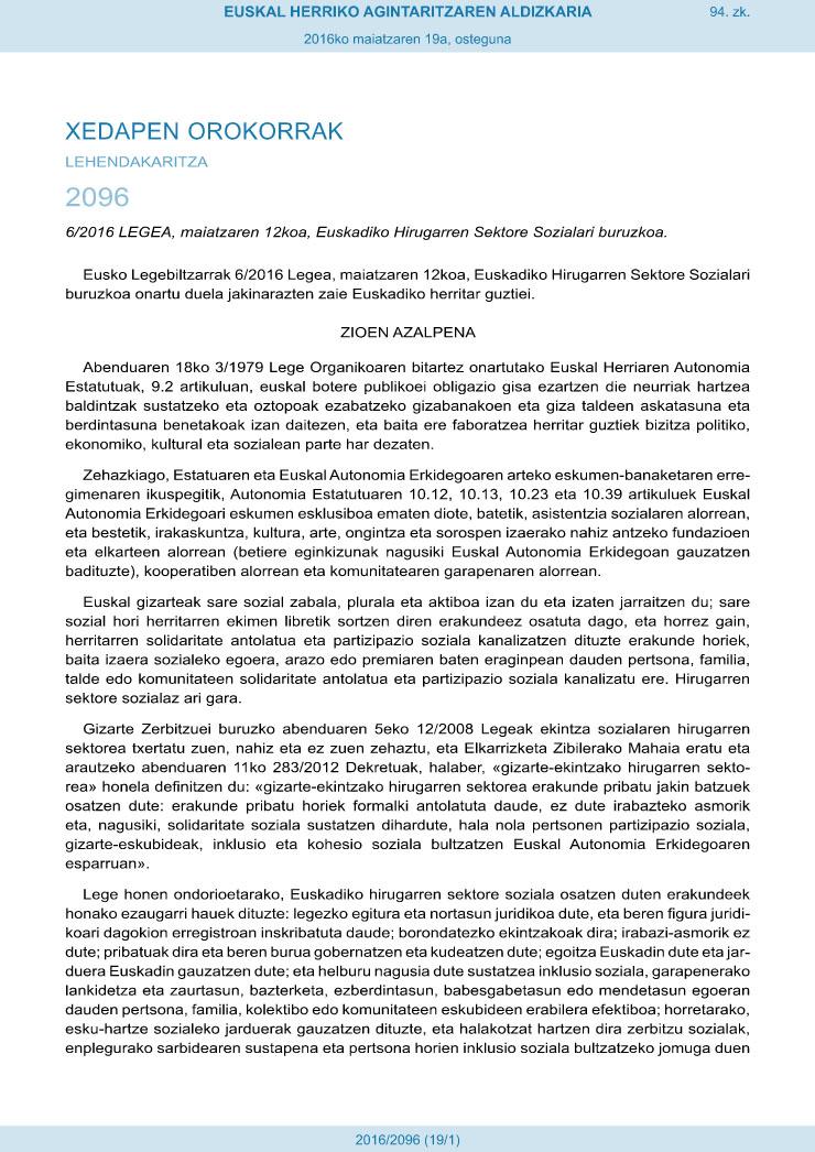 6/2016 Legea maiatzaren 12koa, Euskadiko Hirugarren Sektore Sozialari buruzkoa