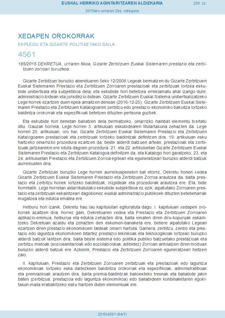 Urriak 6ko 1852015 Dekretua, Euskal Sistemaren prestazio eta zerbitzuen zerrenda