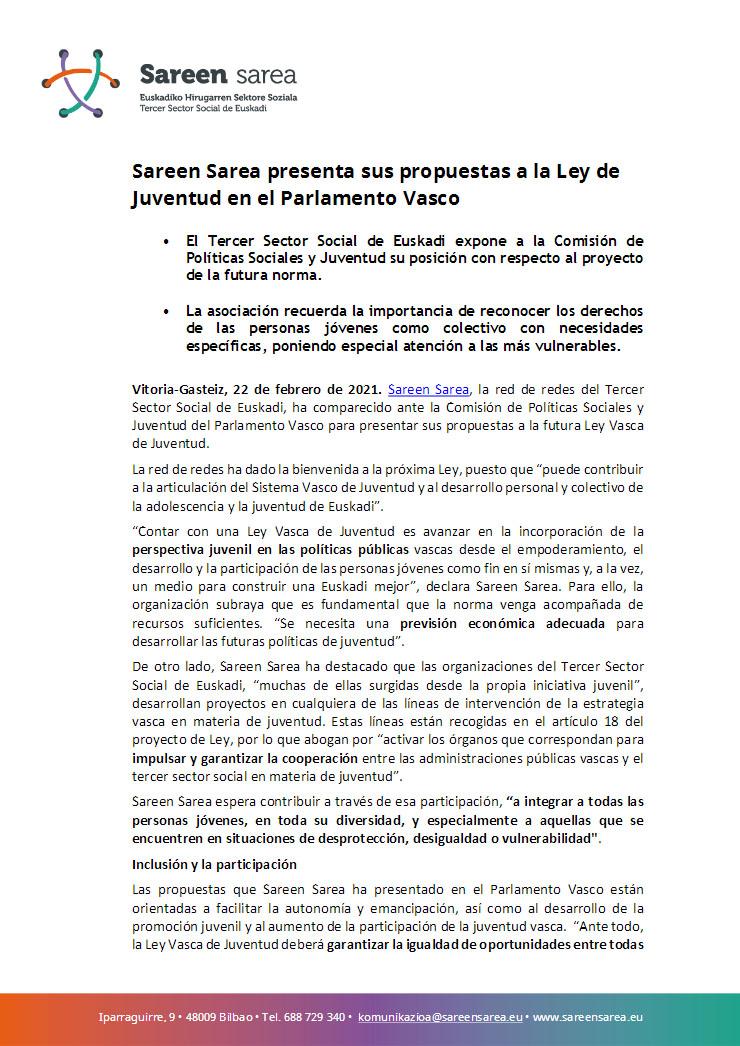 Febrero 2021. Sareen Sarea presenta sus propuestas a la Ley de Juventud en el Parlamento Vasco