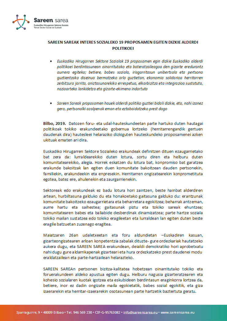 2019ko Martxoa. 19 proposamen 2019ko maiatzeko hauteskundeetarako