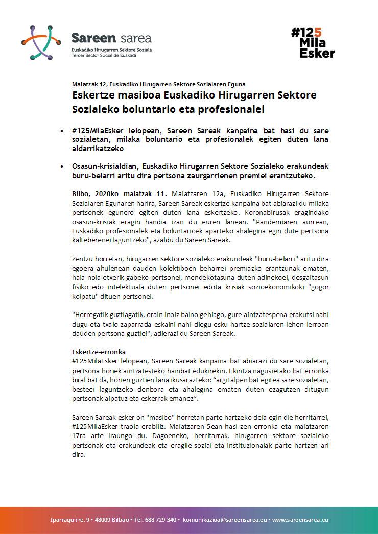 2020ko Maiatza. Eskertze masiboa Euskadiko Hirugarren Sektore Sozialeko boluntario eta profesionalei