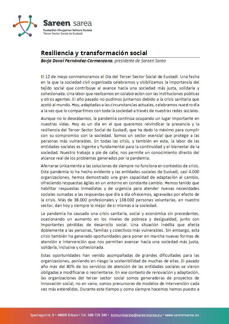 Mayo 2021. Resiliencia y Transformación Social