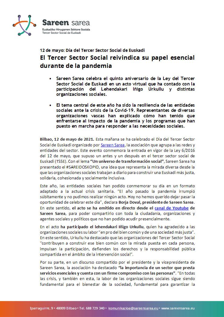Mayo 2021. El Tercer Sector Social reivindica su papel esencial durante la pandemia